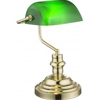 GLOBO 2491K | Antique Globo asztali lámpa 36cm kapcsoló 1x E27 sárgaréz, zöld