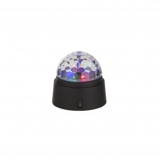 GLOBO 28014 | Disco Globo asztali lámpa 9cm kapcsoló 6x LED fekete, többszínű