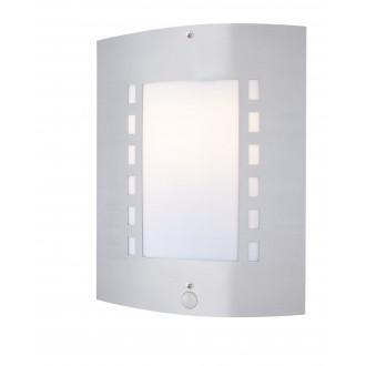 GLOBO 3156S | Orlando Globo fali lámpa mozgásérzékelő 1x E27 IP44 acél, opál