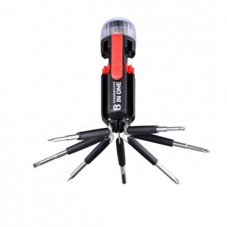 GLOBO 31912 | Multi-Tool Globo hordozható zseblámpa kapcsoló 4x LED fekete, piros, átlátszó