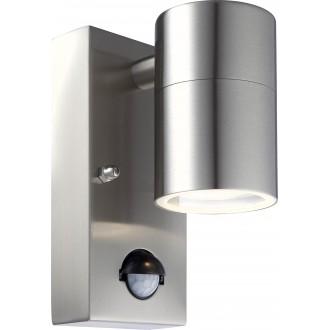 GLOBO 3201SL | Style Globo falikar lámpa mozgásérzékelő 1x GU10 420lm 3000K IP44 acél, opál