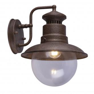 GLOBO 3272R | Sella-GL Globo falikar lámpa 1x E27 IP44 rozsdaszín, átlátszó