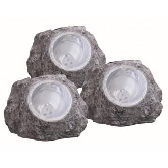 GLOBO 3302-3 | Soglo15 Globo kő formájú lámpa napelemes/szolár, 3 darabos szett 4x LED IP44 szürke