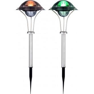 GLOBO 33041-2 | Soglo87 Globo leszúrható lámpa napelemes/szolár, színváltós, 2 darabos szett 1x LED IP44 nemesacél, rozsdamentes acél, többszínű