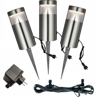 GLOBO 34075-3 | Poggy Globo leszúrható lámpa 3 darabos szett 3x LED 200lm 3000K IP44 szürke