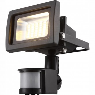 GLOBO 34108S | Radiator-IV Globo fényvető lámpa mozgásérzékelő elforgatható alkatrészek 1x LED 1250lm 3200K IP44 sötét szürke, átlátszó