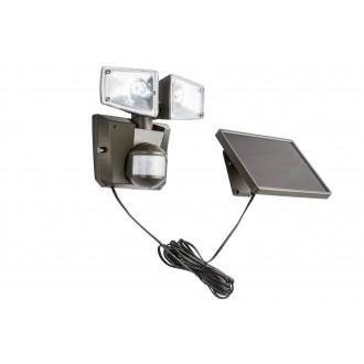 GLOBO 3717S | Solar-G Globo fényvető lámpa mozgásérzékelő napelemes/szolár, billenthető 2x LED 480lm 6500K IP44 antracit