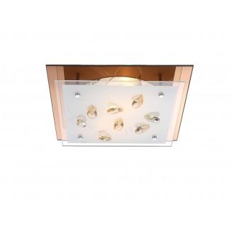 GLOBO 40412-2 | Ayana Globo mennyezeti lámpa 2x E27 króm, fehér, borostyán