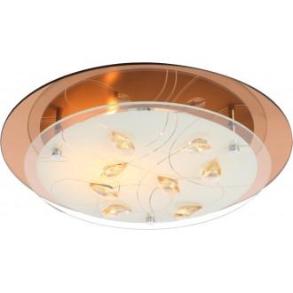 GLOBO 40413-2 | Ayana Globo mennyezeti lámpa 2x E27 króm, metál fehér, borostyán