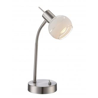 GLOBO 54341-1T | Elliott Globo asztali lámpa kapcsoló flexibilis 1x E14 400lm 3000K matt nikkel, savmart, átlátszó