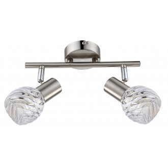 GLOBO 54344-2O | Boronia Globo spot lámpa elforgatható alkatrészek 2x E14 króm, matt nikkel, átlátszó