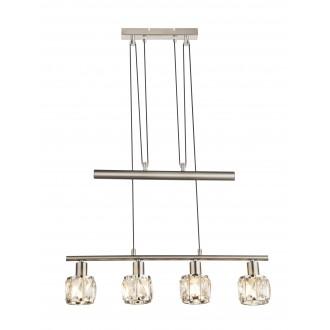 GLOBO 54356-4Z | Kris-Indiana-Mero Globo függeszték lámpa ellensúlyos, állítható magasság 4x E14 króm, matt nikkel, átlátszó