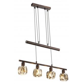 GLOBO 54357-4Z | Kris-Indiana-Mero Globo függeszték lámpa ellensúlyos, állítható magasság 4x E14 króm, bronz, füst