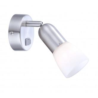 GLOBO 5453-1 | CathyArni Globo spot lámpa kapcsoló elforgatható alkatrészek 1x E14 matt nikkel, fehér