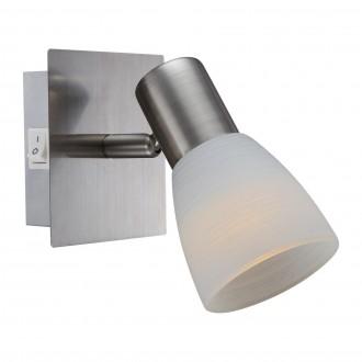GLOBO 54534-1 | Parry-Raider Globo fali lámpa kapcsoló elforgatható fényforrás 1x E14 400lm 3000K matt nikkel, fehér
