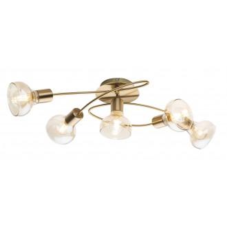 GLOBO 54922-5 | Donto-Lothar Globo mennyezeti lámpa 5x E14 antikolt arany, króm, borostyán