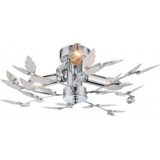 GLOBO 63100-3 | Vida Globo mennyezeti lámpa 3x E14 króm, fehér, átlátszó