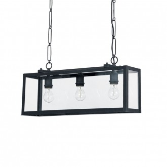 IDEAL LUX 092881 | Igor-IL Ideal Lux függeszték lámpa - IGOR SP3 NERO - 3x E27 matt fekete, átlátszó