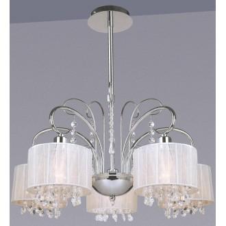 ITALUX MDM1583/5 WH | Span Italux csillár lámpa 5x E14 króm, fehér, átlátszó