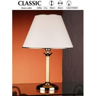 JUPITER 206A CLL | ClassicJ Jupiter asztali lámpa 53cm vezeték kapcsoló 1x E27 szatén réz, ekrü