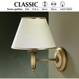 JUPITER 506 P.CLK | ClassicJ Jupiter falikar lámpa 1x E27 patinás réz, krémszín