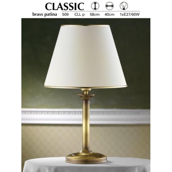JUPITER 509 P.CLL | ClassicJ Jupiter asztali lámpa 53cm vezeték kapcsoló 1x E27 patinás réz, krémszín