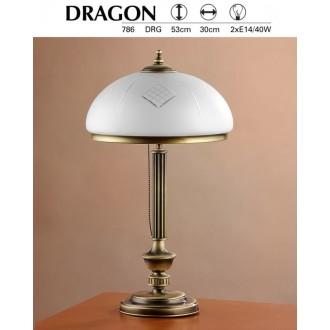 JUPITER 786 DR G   Dragon Jupiter asztali lámpa 53cm vezeték kapcsoló 2x E14 patinás réz, fehér