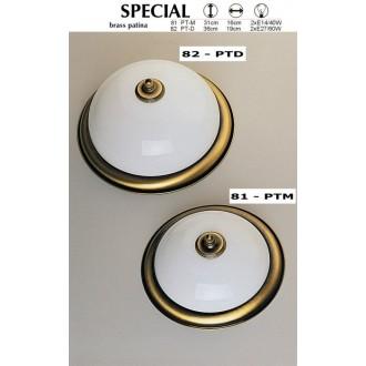 JUPITER 82 PT-D | Plafon Jupiter mennyezeti lámpa 2x E27 patinás réz, fehér