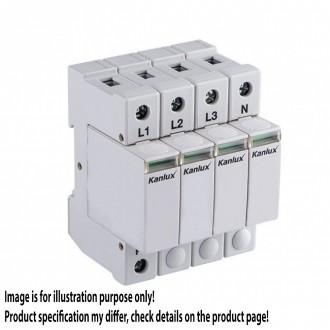 KANLUX 23133 | Kanlux túlfeszültség korlátozó modul DIN35 modul, T2/C, 160kA - 4P világosszürke