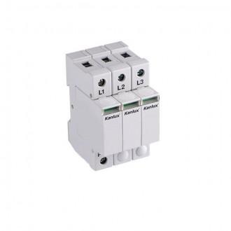KANLUX 23136 | Kanlux túlfeszültség korlátozó modul DIN35 modul, T1+T2/B+C, 150kA - 3P világosszürke