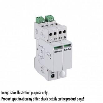 KANLUX 23138 | Kanlux túlfeszültség korlátozó modul DIN35 modul, T1+T2/B+C, 200kA - 3P+N világosszürke