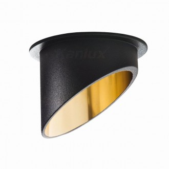 KANLUX 27324 | Spag Kanlux beépíthető lámpa kerek foglalat nélkül Ø68mm 1x MR16 / GU5.3 / GU10 fekete, arany