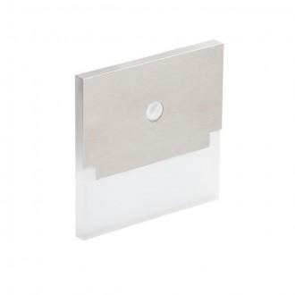 KANLUX 27374 | Kanlux_Sabik Kanlux beépíthető lámpa négyzet mozgásérzékelő 75x75mm 1x LED 13lm 3000K nemesacél, rozsdamentes acél, átlátszó