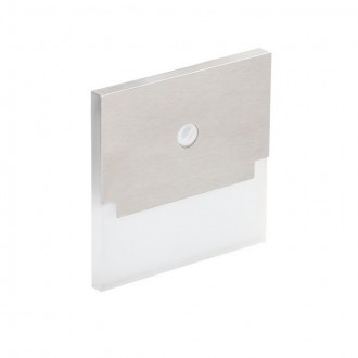 KANLUX 27375 | Kanlux-Sabik Kanlux beépíthető lámpa négyzet mozgásérzékelő 75x75mm 1x LED 15lm 6500K nemesacél, rozsdamentes acél, átlátszó