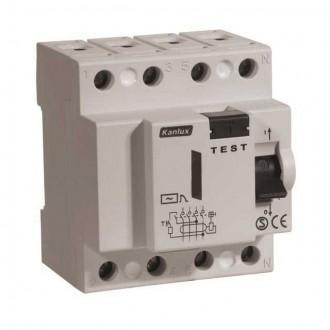 KANLUX 4485 | Kanlux áramvédő kapcsoló (FI relé) DIN35 modul, 4P világosszürke, fekete, sárga