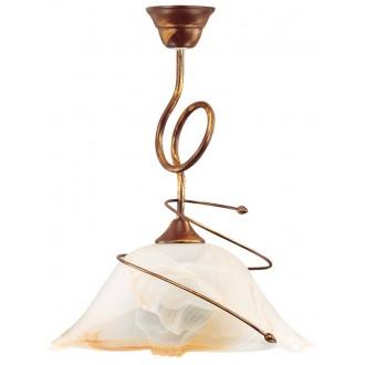LAMPEX 005/1 B+M | Sanki Lampex függeszték lámpa 1x E27 antikolt barna, alabástrom, borostyán
