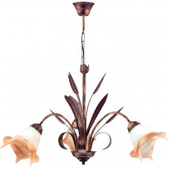 LAMPEX 020/3 B+M | Klos Lampex csillár lámpa 3x E27 antik vörösréz, alabástrom, borostyán