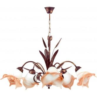LAMPEX 020/5 B+M | Klos Lampex csillár lámpa 5x E27 antik vörösréz, alabástrom, borostyán