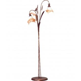 LAMPEX 020/ST B+M | Klos Lampex álló lámpa 156cm 3x E27 antik vörösréz, alabástrom, borostyán