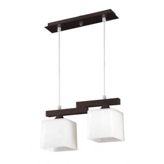 LAMPEX 048/2 WEN | Cubo-LA Lampex függeszték lámpa 2x E27 wenge, króm, fehér