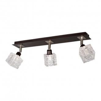 LAMPEX 049/3 WEN | FoRma-LA Lampex mennyezeti lámpa 3x E14 wenge, króm, átlátszó