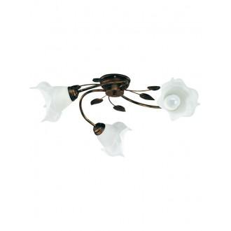 LAMPEX 090/3 C+M | Bluszcz Lampex mennyezeti lámpa 3x E27 antikolt barna, alabástrom
