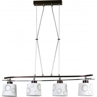 LAMPEX 128/4 WEN | Alicente Lampex függeszték lámpa 4x E27 wenge, króm, fehér