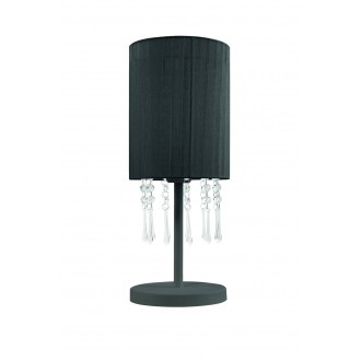 LAMPEX 153/LM CZA | Wenecja-LA Lampex asztali lámpa 45cm 1x E27 fekete, átlátszó