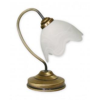 LEMIR 058/L1 | Fuks Lemir asztali lámpa 32cm vezeték kapcsoló 1x E27 bronz, fehér