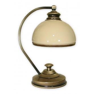 LEMIR 268/L1 | Olimp Lemir asztali lámpa 35cm vezeték kapcsoló 1x E27 bronz, krémszín