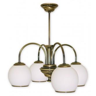 LEMIR 284/W4 | Rodos Lemir csillár lámpa 4x E27 bronz, fehér