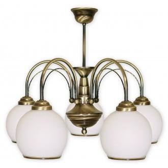 LEMIR 335/W5 | Koral Lemir csillár lámpa 5x E27 bronz, fehér