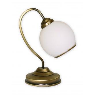 LEMIR 338/L1 | Koral Lemir asztali lámpa 32cm vezeték kapcsoló 1x E27 bronz, fehér