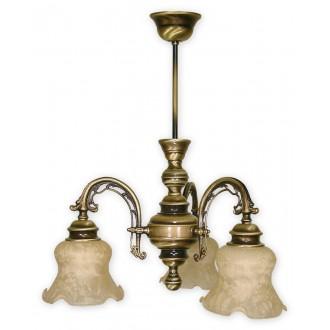 LEMIR 343/W3 | Tytan Lemir csillár lámpa 3x E27 bronz, krémszín